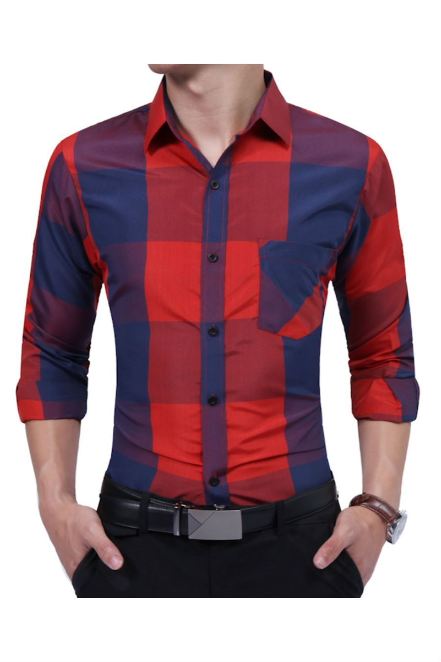 Red plaid slim fit shirt red plaid and products