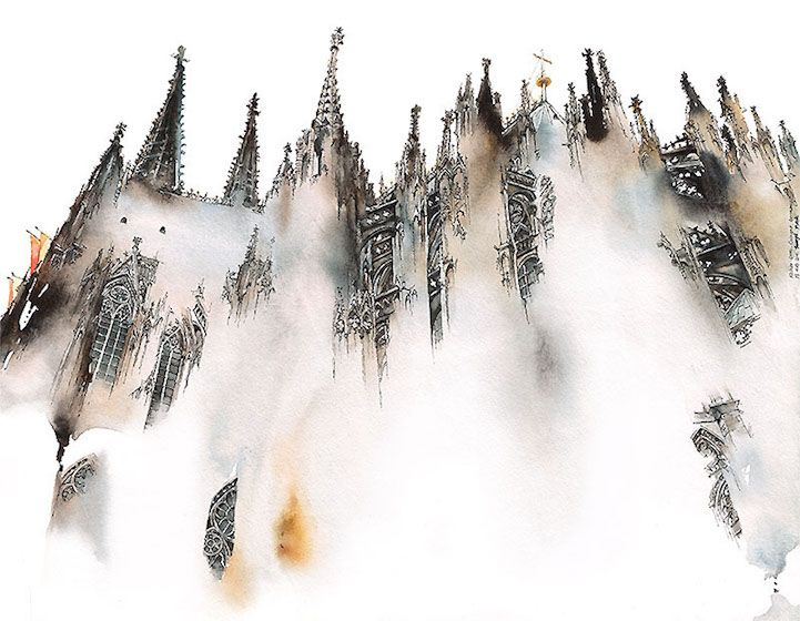 With fluid washes of watercolor,Sunga Park lends gentle fluidity to stony architecture. Her paintings convey gracefully blurred renditions of landmar
