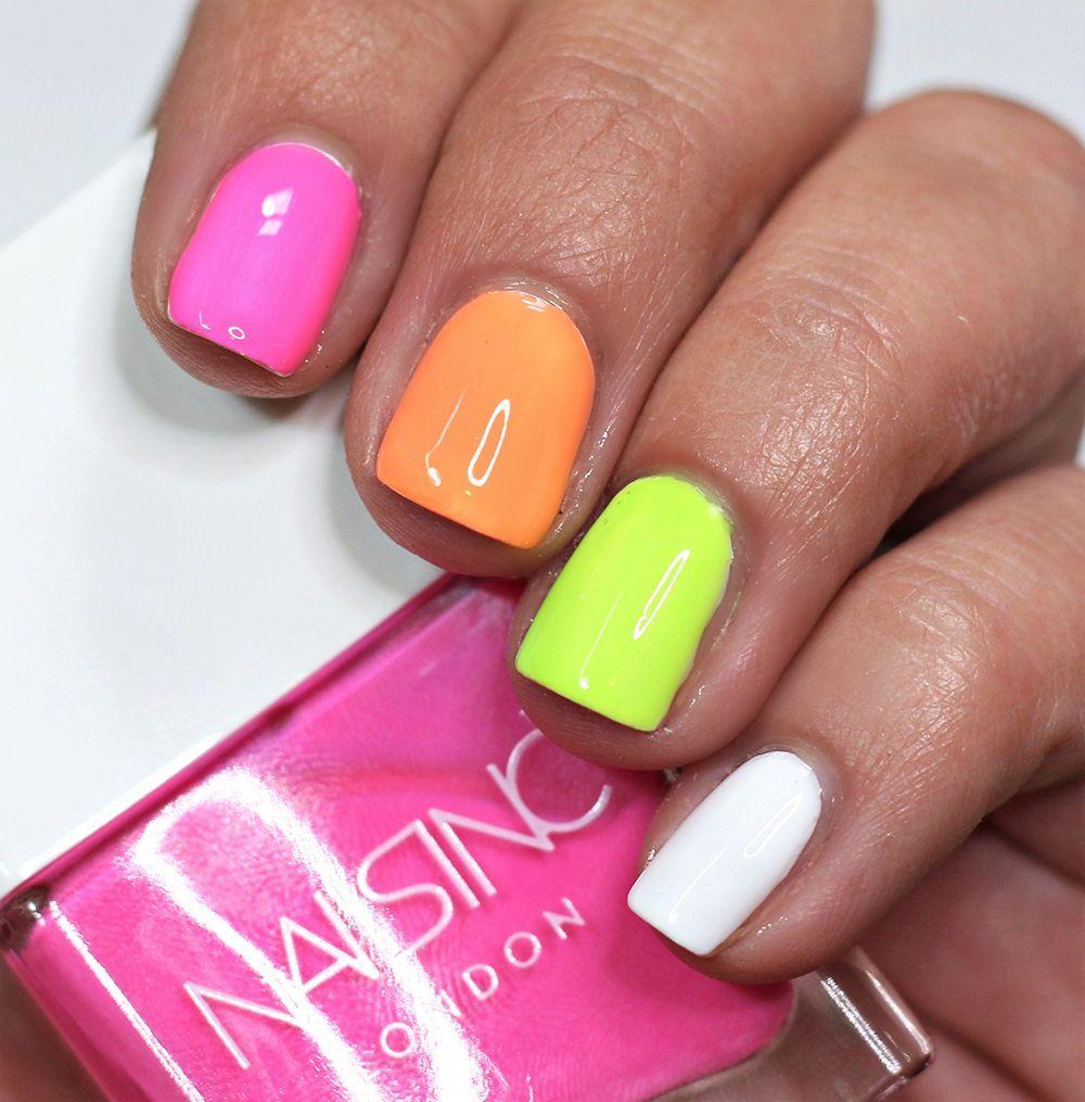 2019 year looks- Rainbow Neon nails