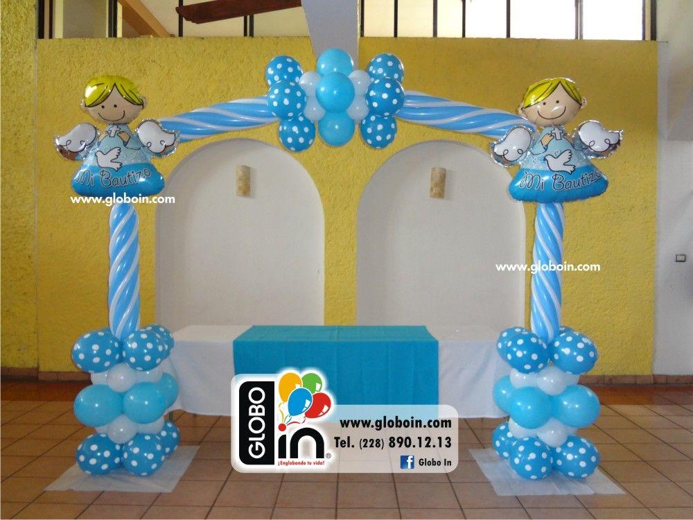 Arco de globos de bautizo katia divine pinterest - Decoracion con bombas para bautizo ...