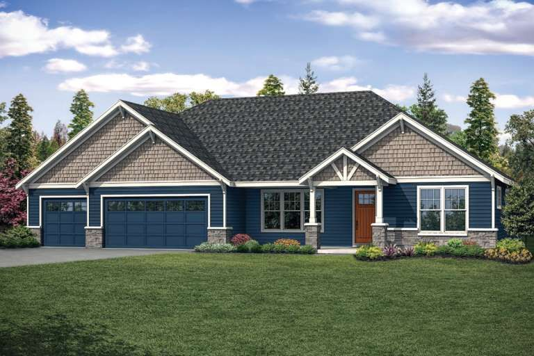 House Plan 035 00838 Craftsman Plan 2 708 Square Feet 4 Bedrooms 2 5 Bathrooms In 2021 Ranch Style House Plans Garage House Plans Ranch House Plans