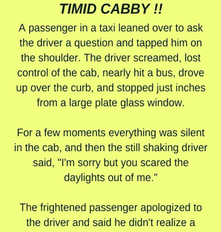 Passenger Scares the Daylights out of this Taxi Driver