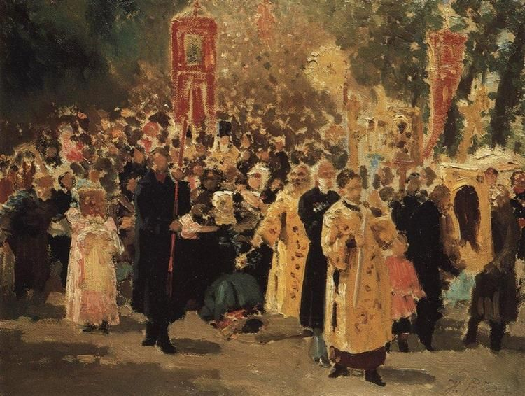 Religious procession in an oak forest. Appearance of the icon, 1878 by Ilya Repin. Realism. genre painting