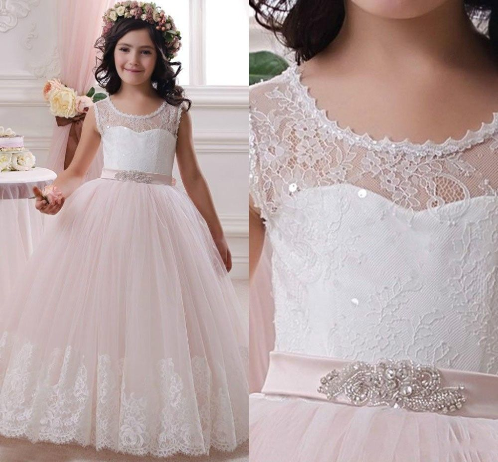 Click to buy ucuc hot real image lace sequins flower girls dresses