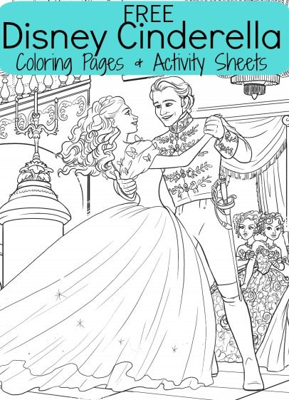 free disney cinderella kids coloring pages plus activity sheets with a cute clock activity connect