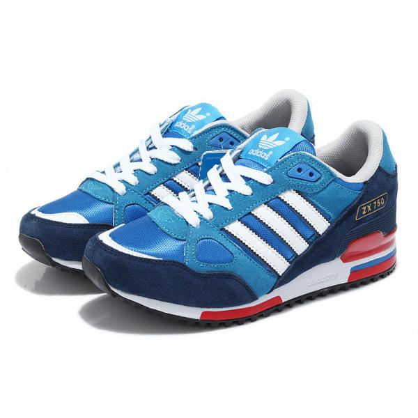 Uomini / donne adidas originali zx 750 scarpe bluebird / nucleo nero