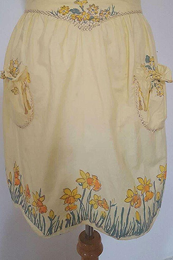 Vintage 1950s Yellow Lemon Apron Skirt cooking Pinup kitchen Cotton Floral Print... -  Vintage 1950
