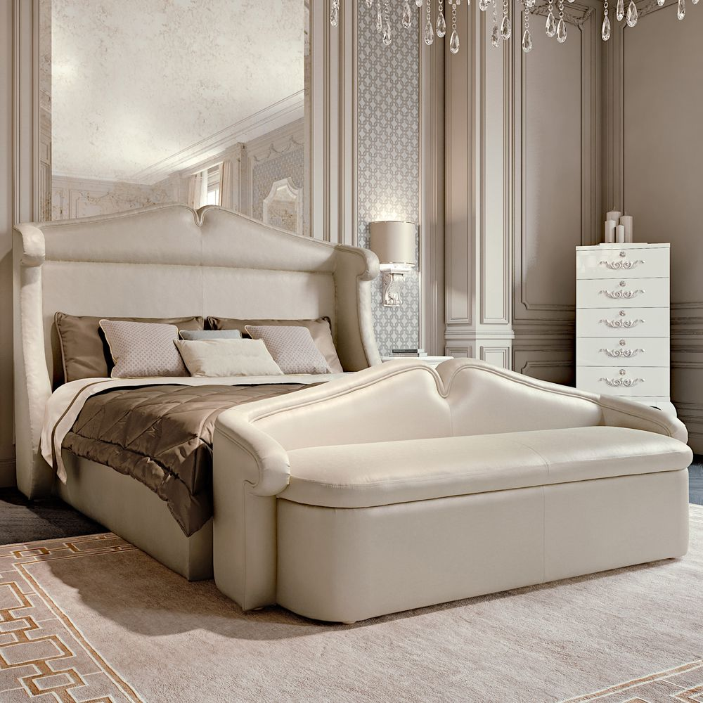 High End Classic Italian Cream Upholstered Storage Bed