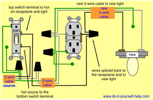 wiring diagram to add a light fixture to a switched receptacle ... on