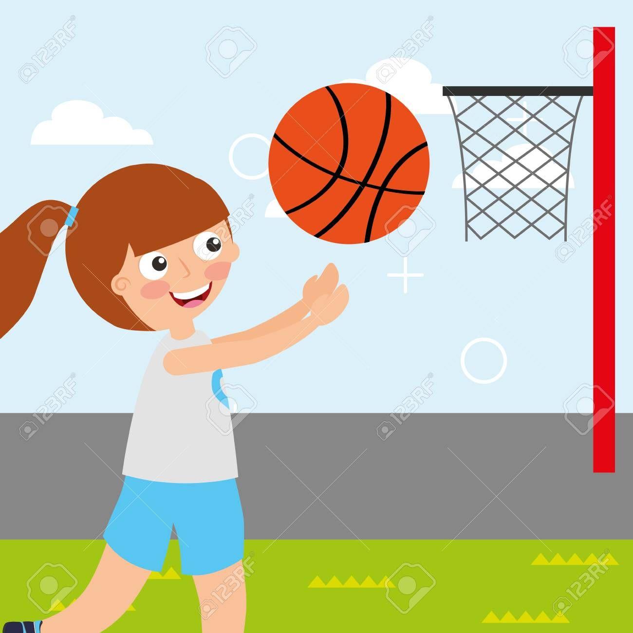 Little Girl Basketball Player Sport Kids Activity Vector Illustration Stock Photo Affiliate Sport Sports Activities For Kids Kids Sports Basketball Girls