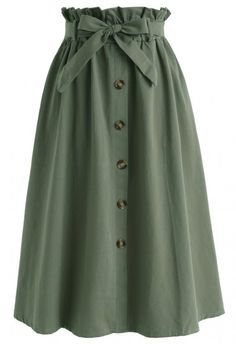 Truly Essential A-Line Midi Skirt in Army Green  green S-M