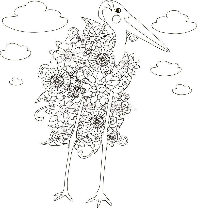 Flowers Marabou Stork Coloring Page Anti Stress Vector Illustration Stock Illustration Vector Illustration Illustration Coloring Pages