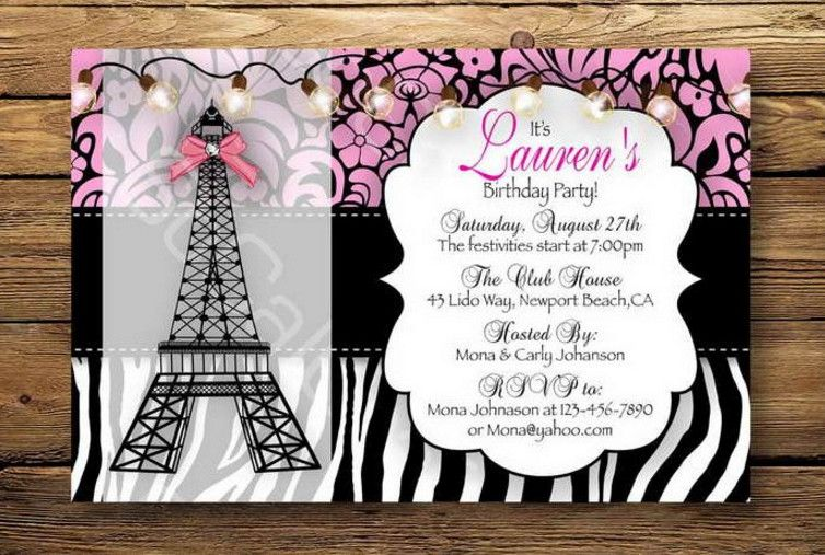 Paris themed birthday party invitation wording peytons paris themed birthday party invitation wording more filmwisefo