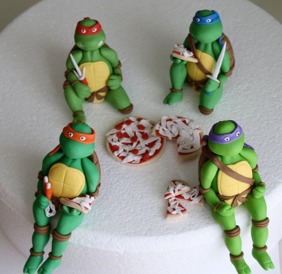 Fondant Teenage Mutant Ninja Turtles Cake Topper Set By Kimseeeun 153 00 Ninja Turtle Cake Topper Ninja Turtle Cake Teenage Mutant Ninja Turtle Theme