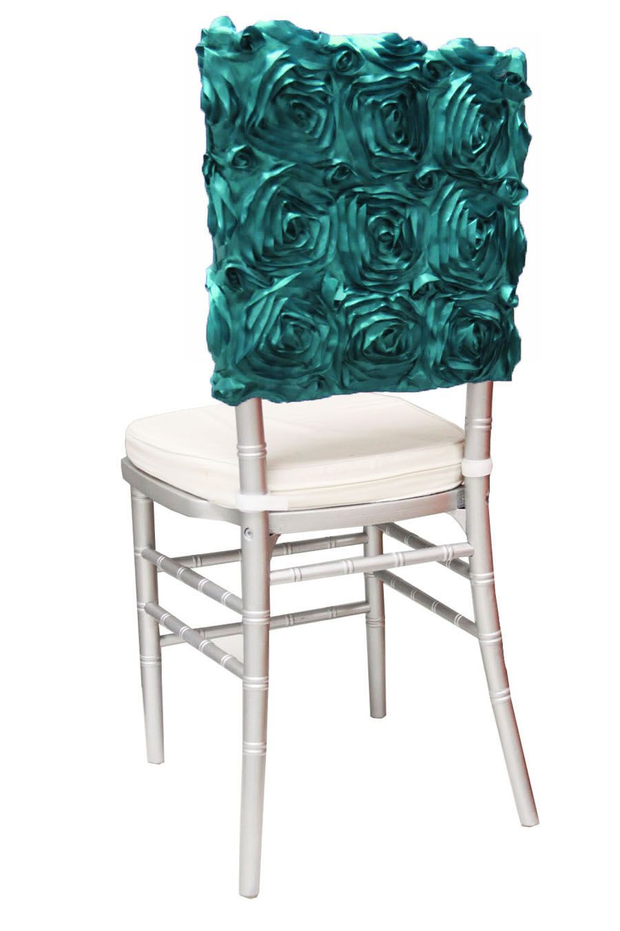 We Have A Wide Assortment Of Dark Turquoise Rosette Items At Www Cvlinens Com Chair Covers Wedding Chiavari Chairs Chiavari