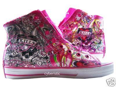 Womens Ed Hardy Fuschia Pink Highrise Love Kills Shoes