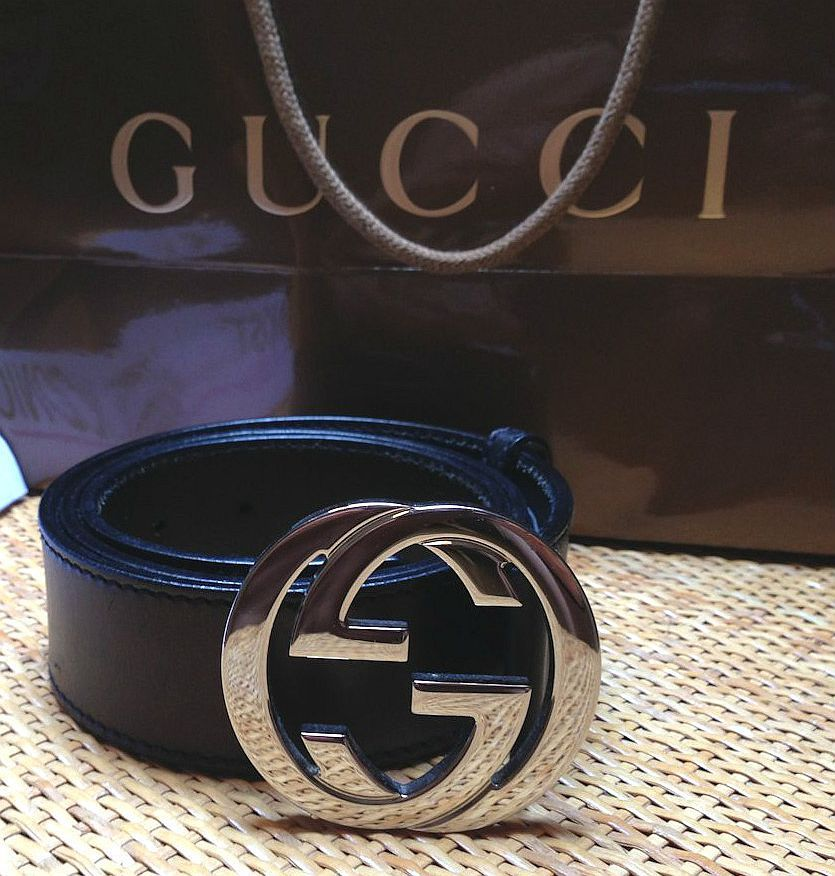 082c4cedca6 Gucci Belt (Men s Pre-owned Double GG Logo Buckle Black Leather Belt ...