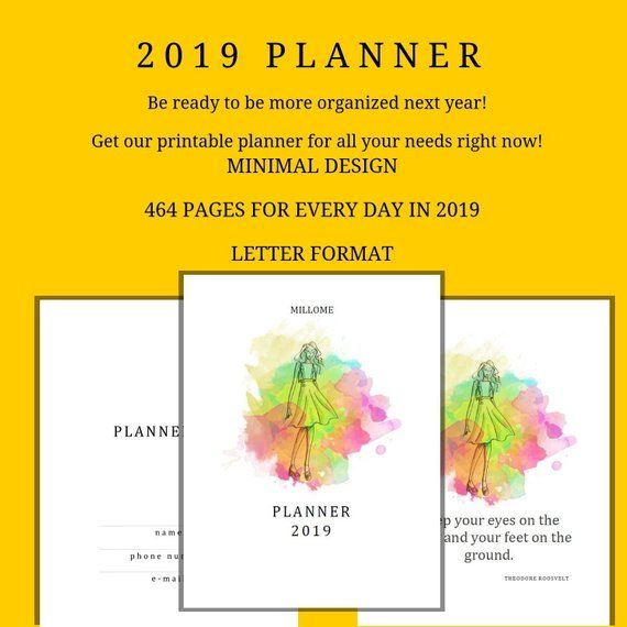 2019 Daily Planner, Hourly Planner, Printable, Monthly Goal Planner