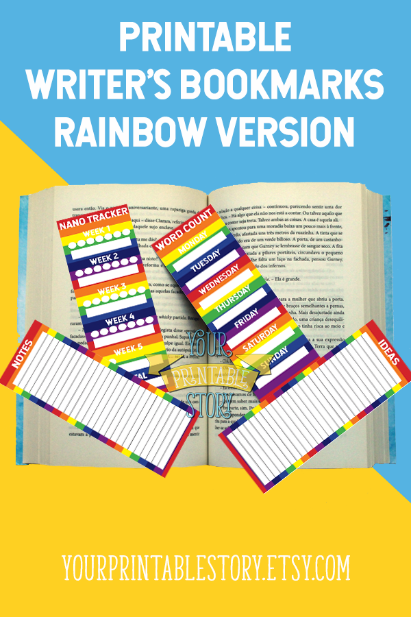 Keep Track Of Nanowrimo Progress Weekly Word Counts And Notes While Marking The Page In Your Books With This Rainbow Printable Bookmark Set For Writers By
