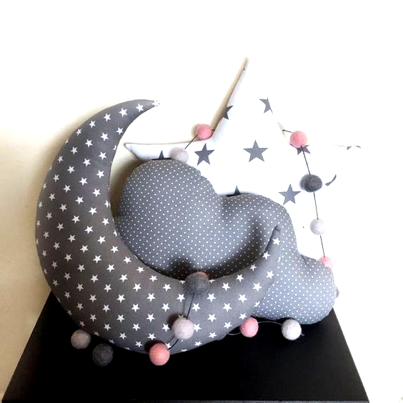 Moon Star Cloud Pillows, GREY Cushion Set, Star Nursery Decor, Childrens Bedroom… Çocuk Odası