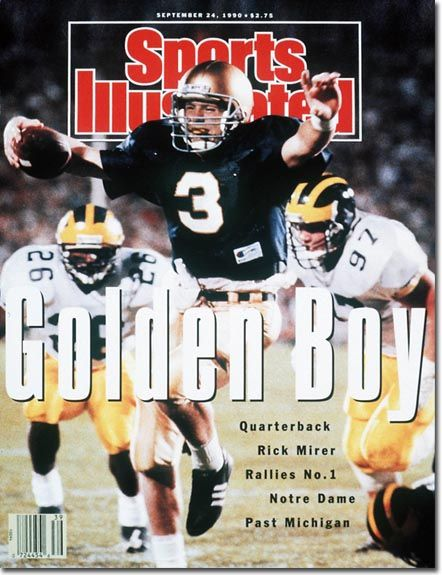 Rick Mirer, Notre Dame QB.   I still have this issue of Sports Illustrated, :)   Rick's Dad, Ken, coached my girl's Dad when he was in high school.  Rick was drafted by the Seahawks, and I believe he also played a short time with the Jets and Bears.