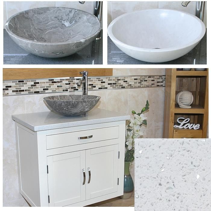Bathroom Vanity Wall Mounted Unit Painted Wood Cabinet White Quartz  Marble Basin