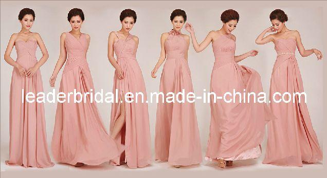 6 Styles Nude Blush Pink Bridesmaid Dresses, Custom Stock Bridal Wedding Dresses