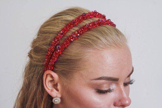 cc5020ac Double headband band tiara Red jewelry for girlfriend gift beaded Baroque  dolce thin jeweled headband Wedding crystal bridesmaids headband