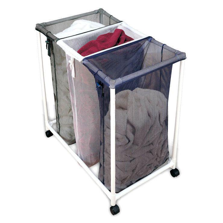 White 3 Section Laundry Sorter Laundry Sorter Laundry