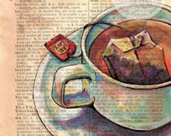 PRINT: Margarita Mixed Media Drawing on Antique Dictionary | Etsy