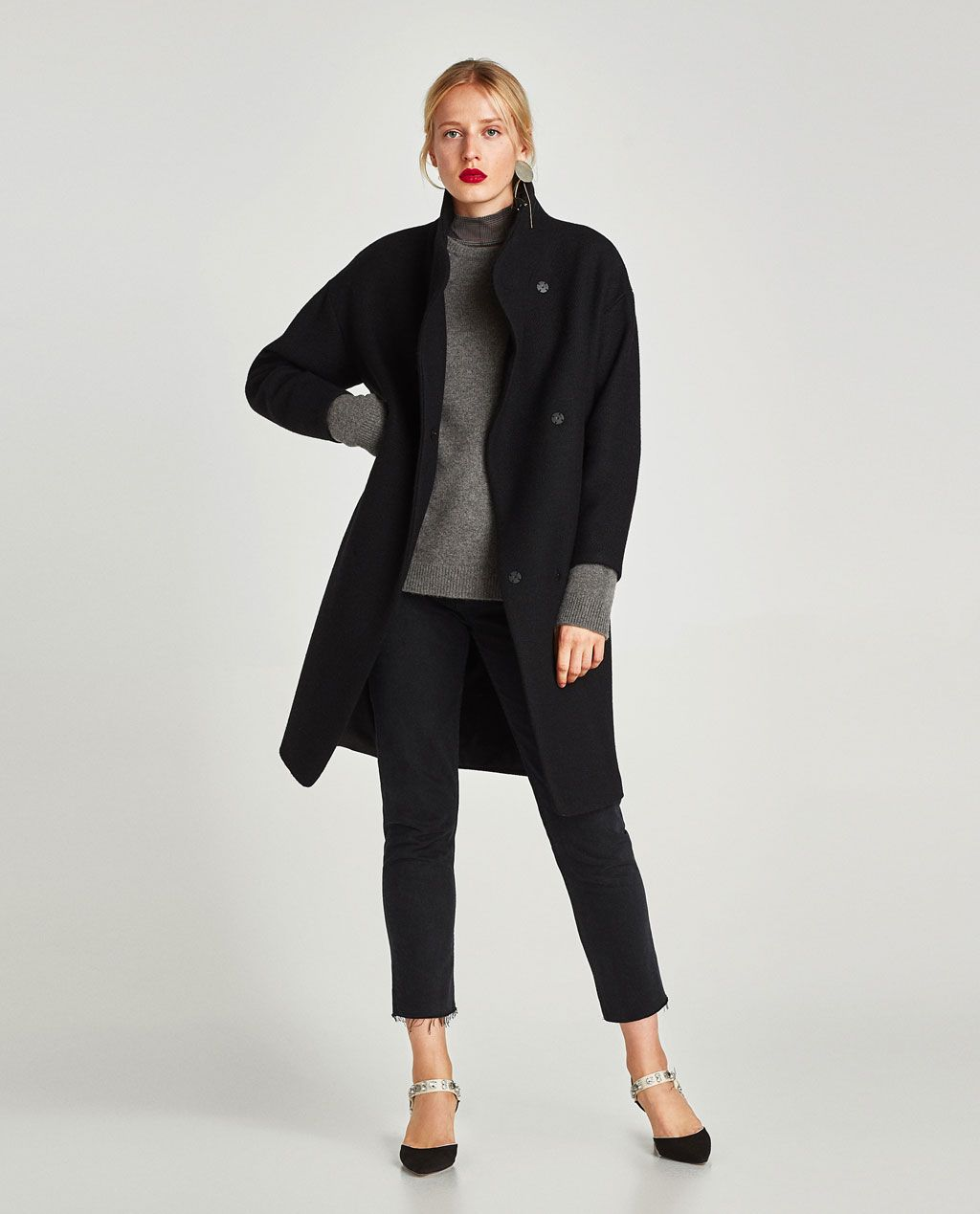 LONG COAT WITH WRAPAROUND COLLAR-View all-OUTERWEAR-WOMAN  0ee3ada78be7
