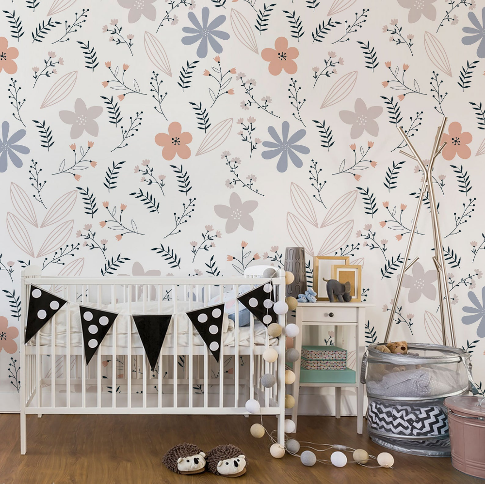 Scandinavian Floral Pastel Wallpaper Removable And Re