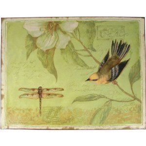Amazon.com: Green with Bird Upside Down Motif Tin Plaque with Bird and Flower Image: Home & Kitchen