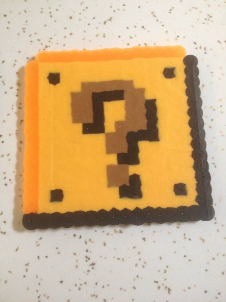Mystery Box Super Mario Bros Nes Pixel Art Perler Beads Retro