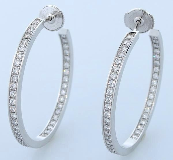 Gorgeous Cartier Inside Out 18k White Gold Diamond Hoop Earrings 1 80 Ctw