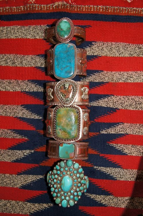 Southwest style copper and sterling silver bracelets made with American turquoise by Greg Thorne.