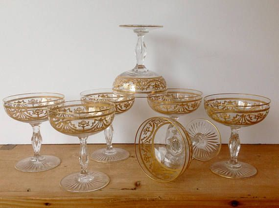 Antique Baccarat Crystal Coupe Champagne Gold Encrusted Bubble Stem ...