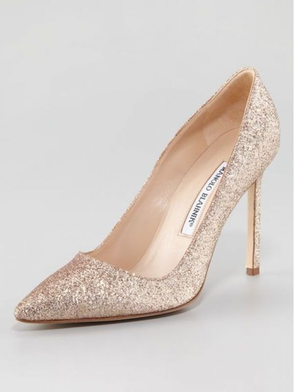 e855520ca1 Manolo Blahnik Bridal Shoes | Brand New Gold Glitter Manolo Blahnik Wedding  Shoe