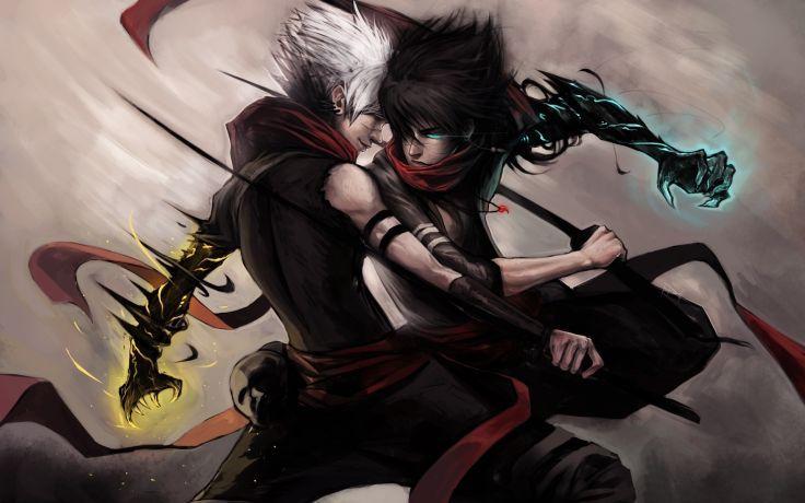 Anime Duel Fantasy Battle War Warriors Magic Men Males Boys Fight Art Paintings Dark Wallpaper Background Anime Warrior Anime Fight Anime
