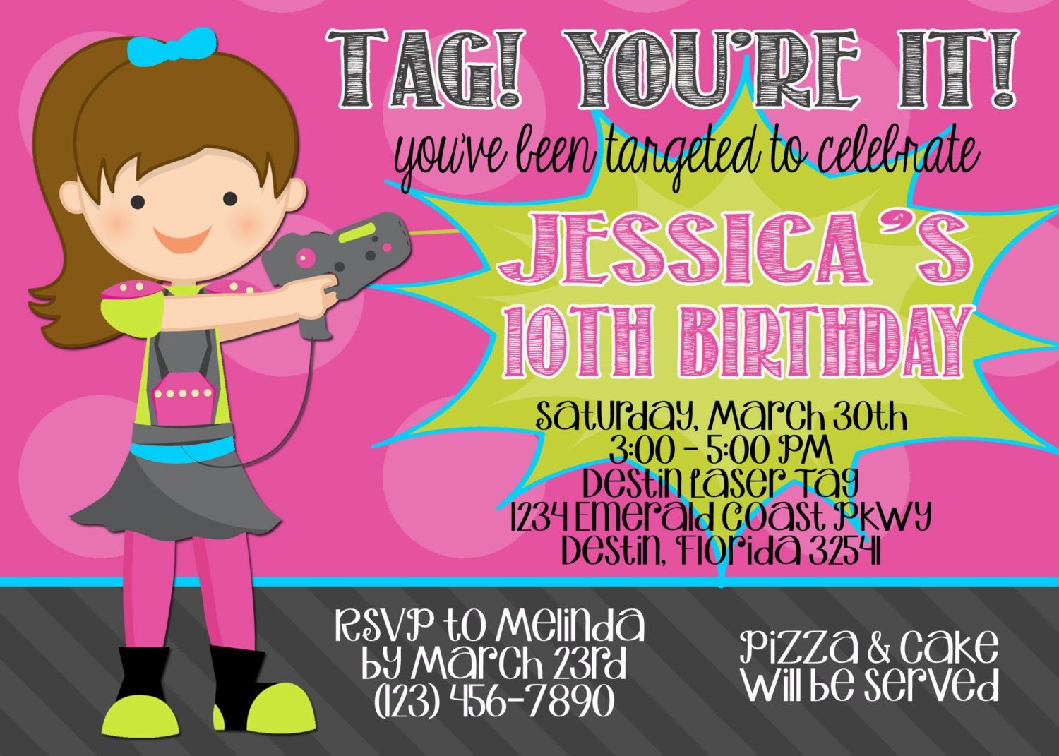 Laser Tag 5x7 Invitation - Girl Birthday Party - PRINTABLE by Party ...
