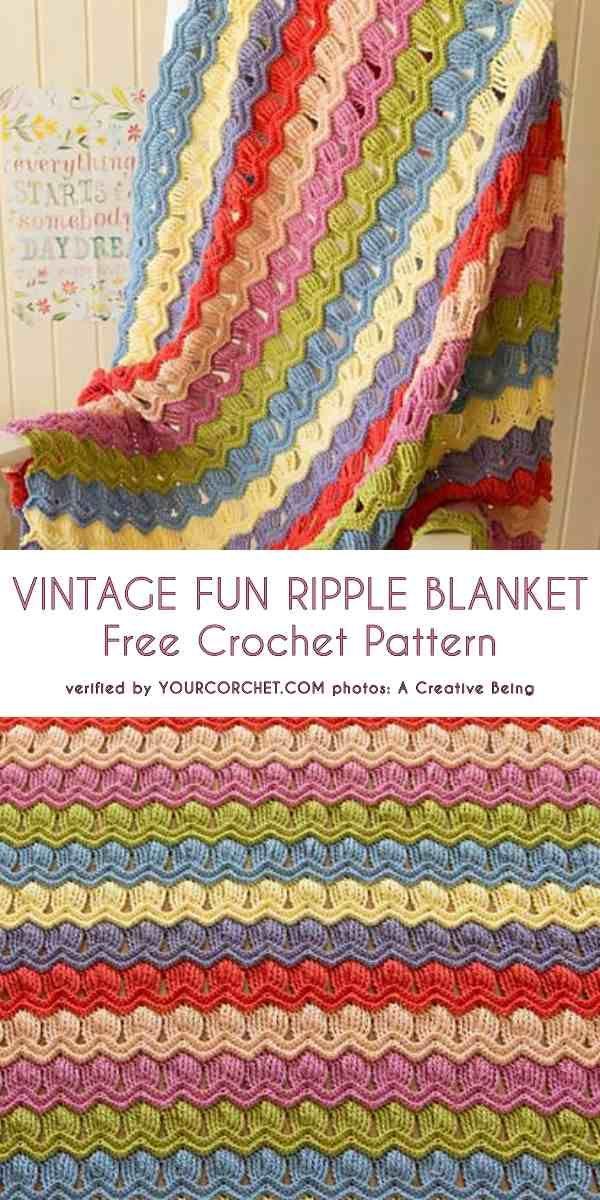 Vintage Fun Ripple Baby Blanket Free Crochet Pattern Haken Deken