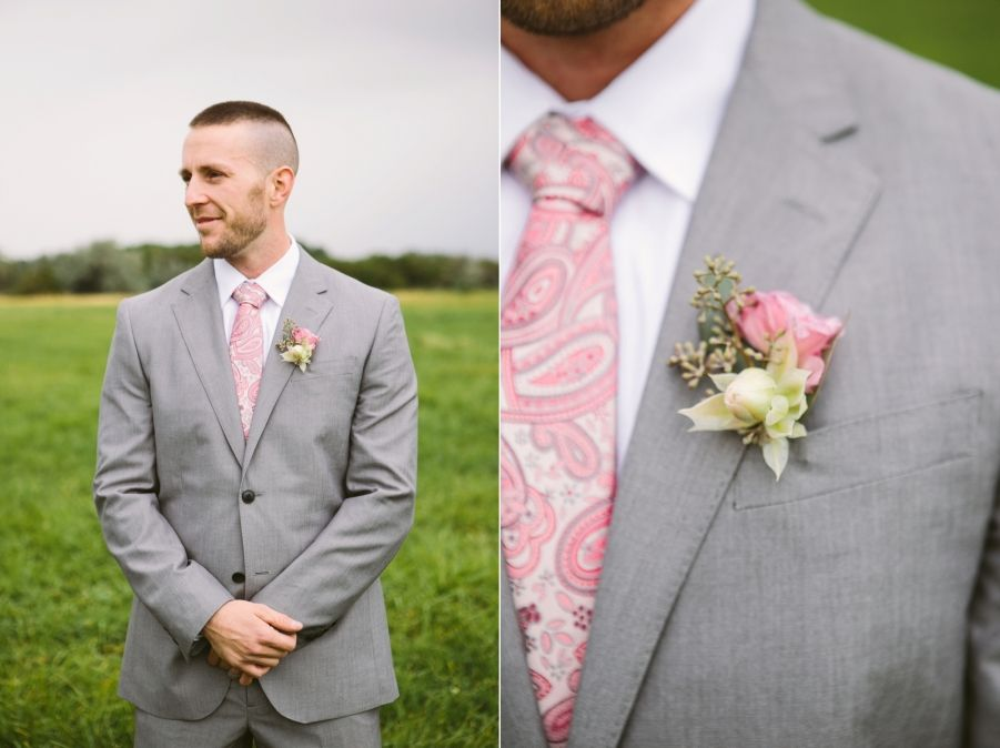 Groom in light grey suit with pink touches at Kleffner Ranch in ...