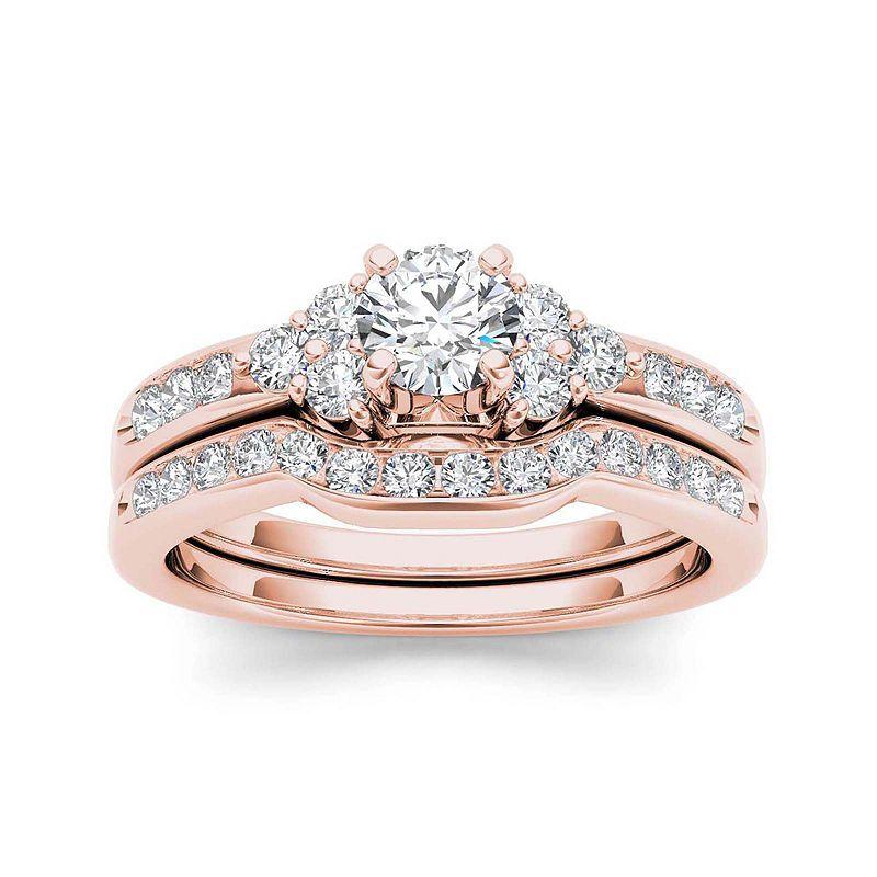 1 ct tw diamond 14k rose gold bridal ring set blue