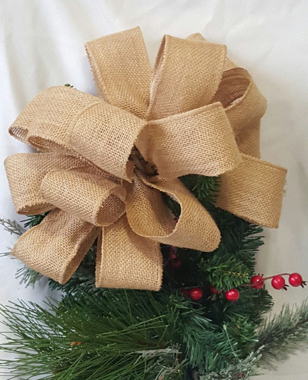 Tree topper bow rustic burlap ribbon christmas bow for for Burlap ribbon on tree