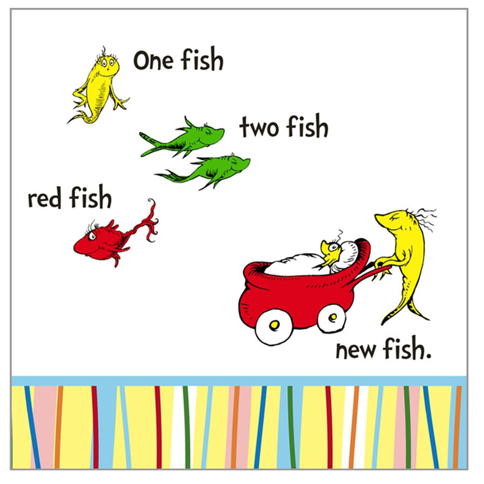 Suess baby shower napkins One fish, two fish, red fish