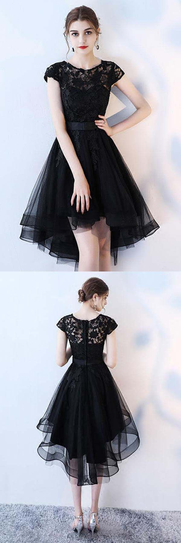 Black lace short prom dress hight low evening dress homecoming