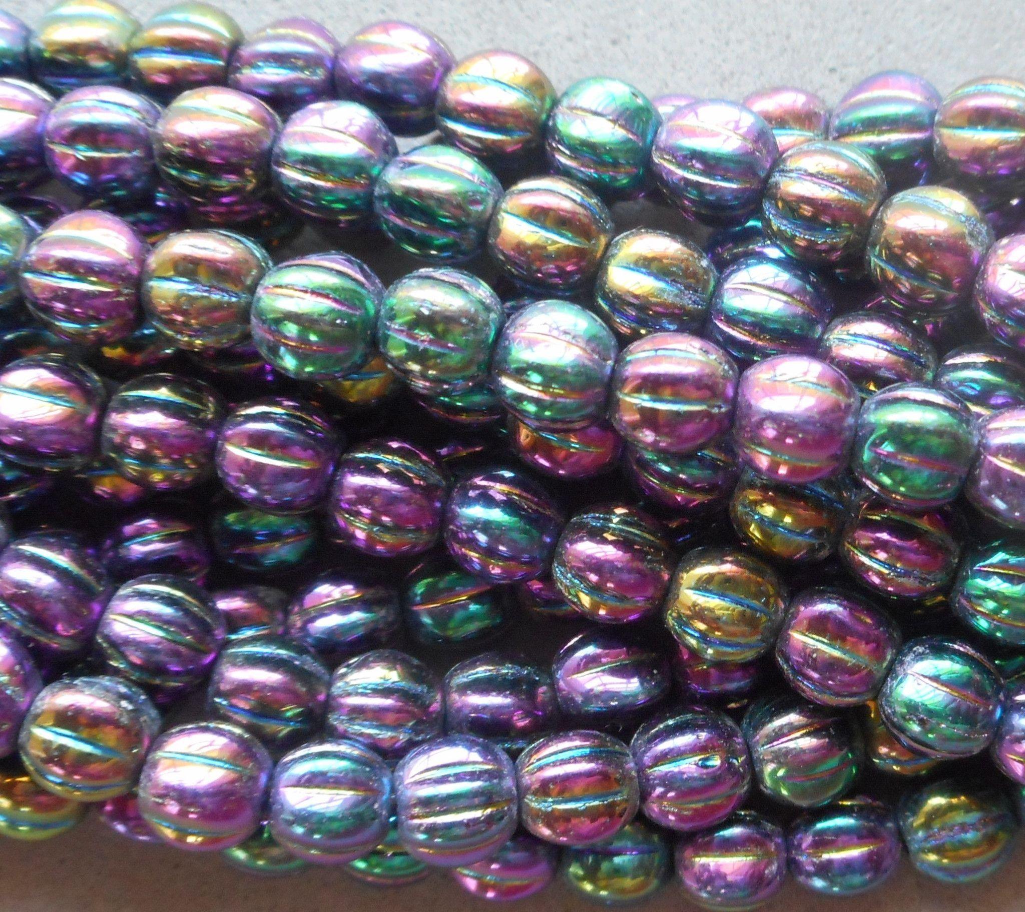 Czech pressed beads large vintage flat leaf white violet 18 x 13 mm pack of 10