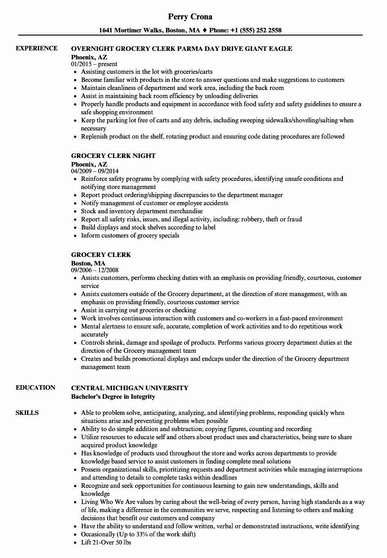 25 Grocery Store Clerk Resume In 2020 Manager Resume Job