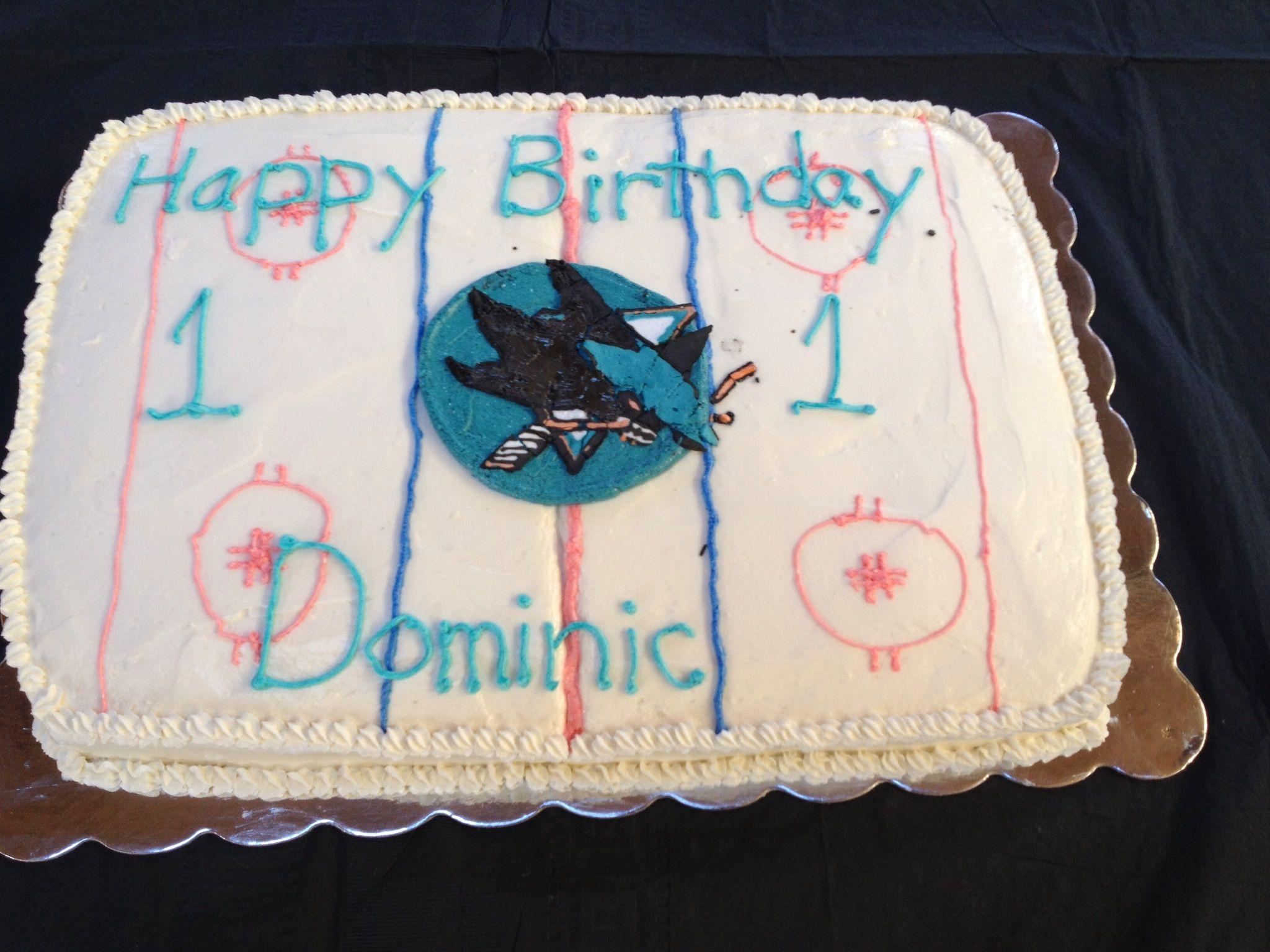 Terrific Sharks Hockey Cake Inside Is A Teal Velvet Cake Instead Of Red Funny Birthday Cards Online Inifofree Goldxyz