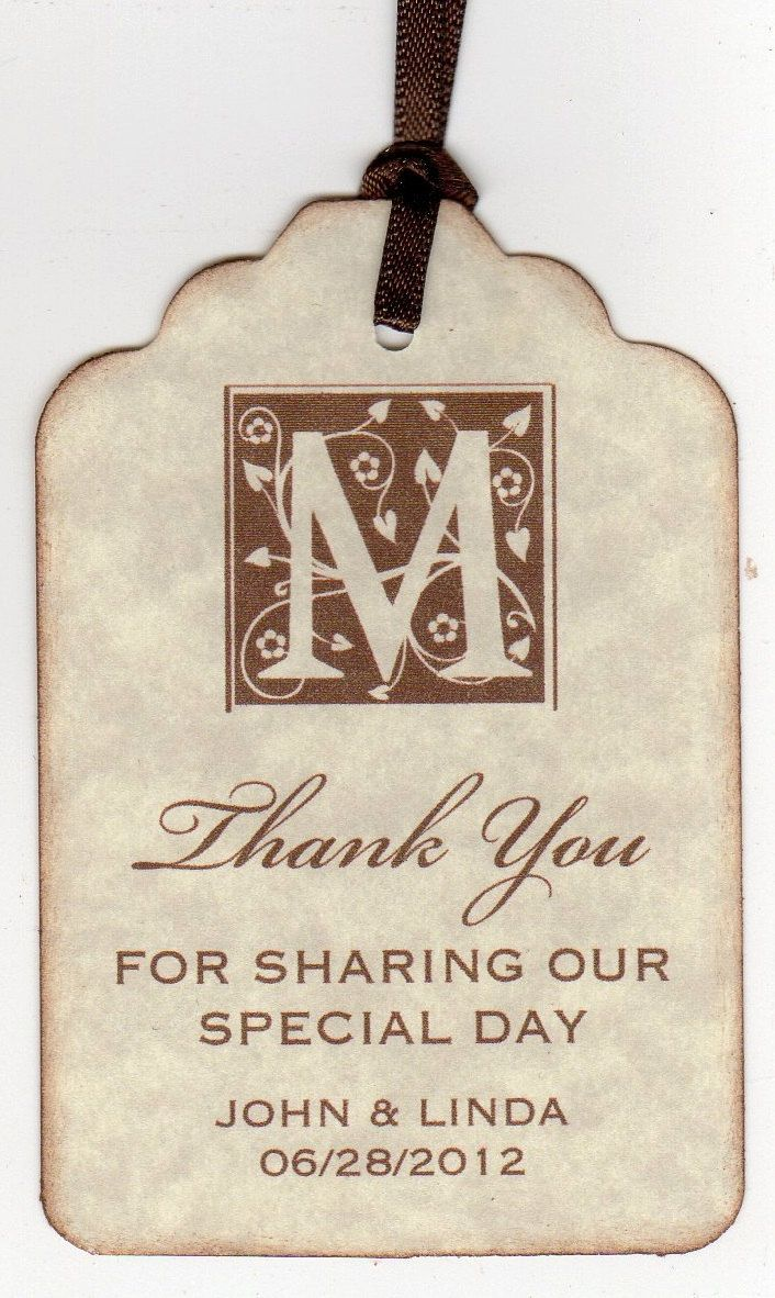 50 Vintage Personalized Thank You Tags / Gift Tags / Wedding Favor ...